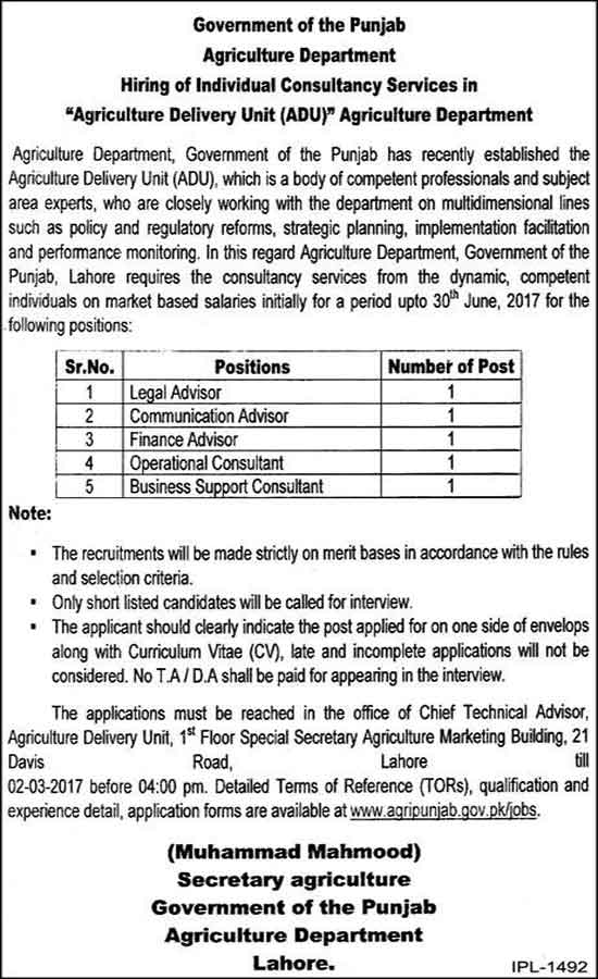 Punjab Agriculture Department Lahore Jobs 16 Feb 2017