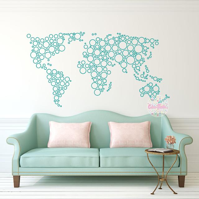 Vinilo decorativo mapa mundi world map circulos cdm - Vinilos mapa mundi ...