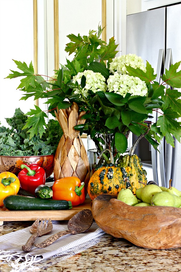 fall decor, white kitchen, fresh vegetables, wood bowl, copper colander, white hydrangeas