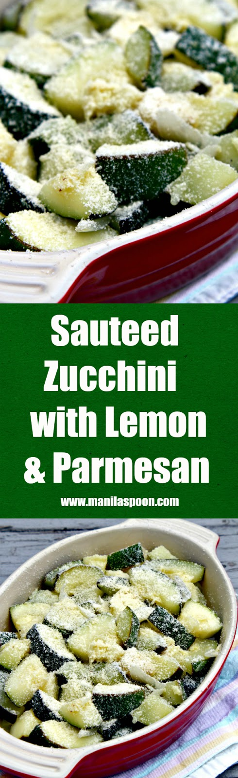 A quick, delicious and healthy way to use up all these summer squash is to make Sautéed Zucchini with Lemon and Parmesan!  | manilaspoon.com