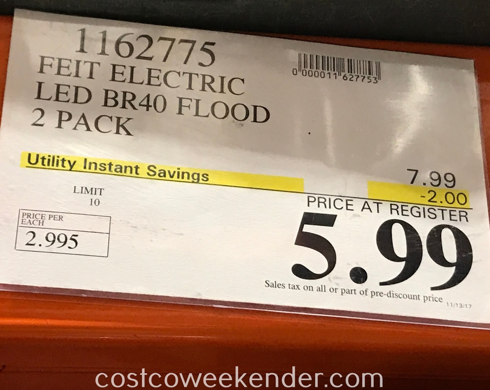 Deal for the 2 pack of Feit Electric LED BR40 Flood Lights at Costco