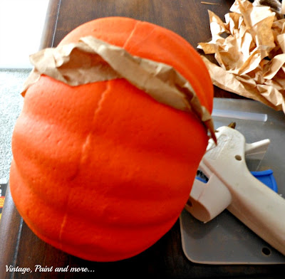 Vintage, Paint and more... covering a dollar store pumpkin with brown lunch bag strips to make it rustic