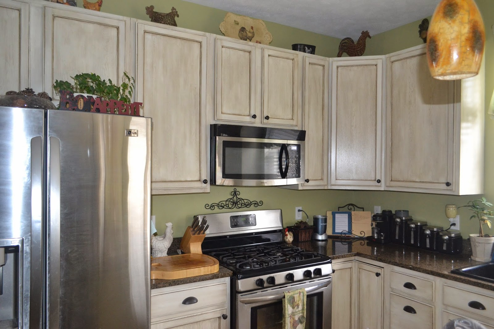White Cabinet And Blue Granite Kitchen