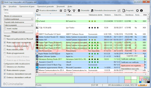 Bulk Crap Uninstaller interfaccia