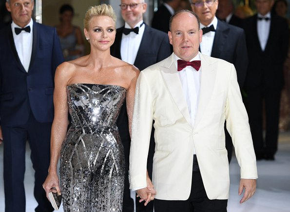 Princess Charlene wore Strapless Silver Sequin Long Gown at Monaco Red Cross Ball Gala in Monte-Carlo