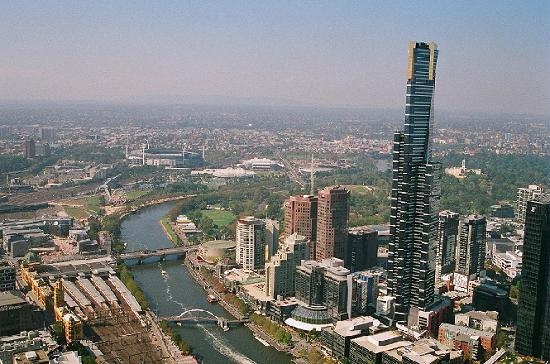 Skyline Melbourne dari selatan, Australia.