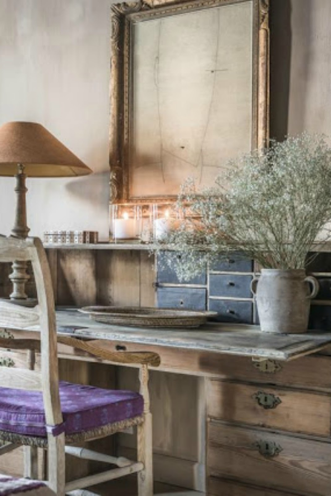 Rustic antique desk in beautiful bedroom with Belgian interior design - found on Hello Lovely Studio