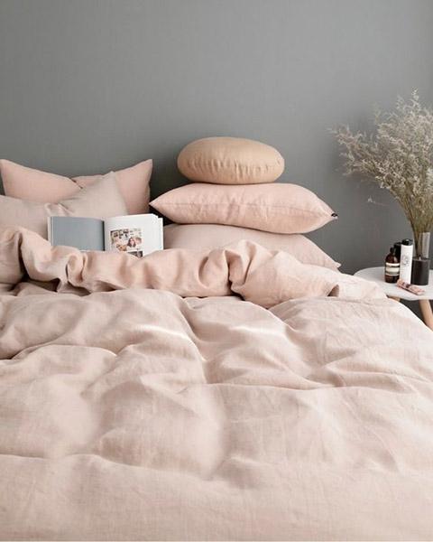 chambre rose pastel et gris bleu