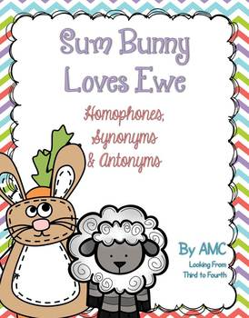 https://www.teacherspayteachers.com/Product/Homophones-Synonyms-and-Antonyms-Sum-Bunny-Loves-Ewe-1206806