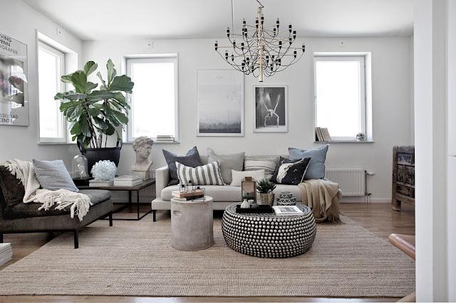 Paletă naturală de culori într-un apartament de 80 m²