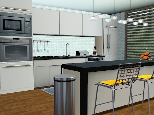 cuisine blanche design sims 3