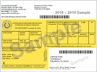 Image result for Texas 2018 yellow registration card