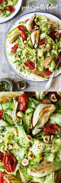 PESTO ZOODLE SALAD WITH ROASTED FENNEL AND TOMATOES