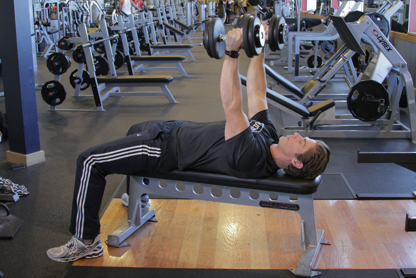 Exercises for chest: bench Press declined dumbbell