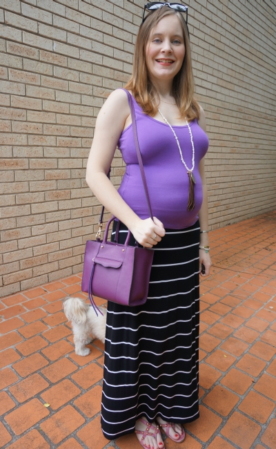 Away From Blue | Easy spring second trimester outfit purple tank maxi skirt sandals