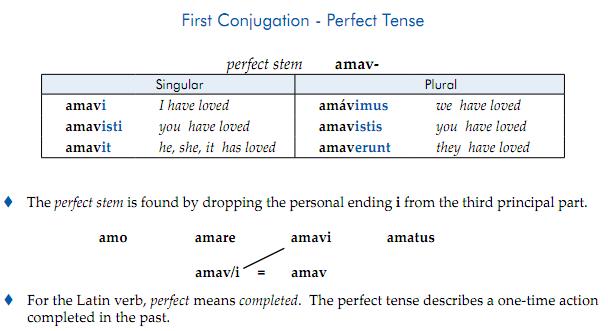 Perfect Tense Latin 100