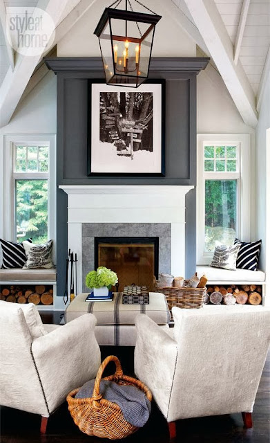 big art above fireplace