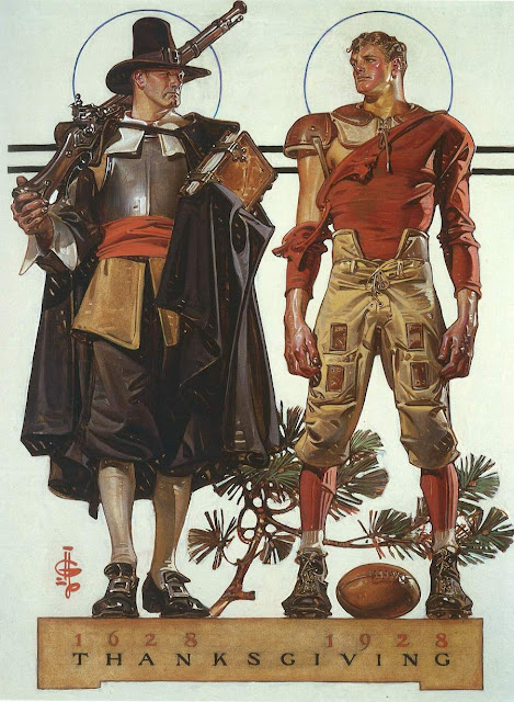 J.C. Leyendecker illustration. Thanksgiving 1628 to 1928. Puritan and football player look at each other from a 300-year divide. A Traditional Thanksgiving and Other stories of Giving Thanks. marchmatron.com.jpg