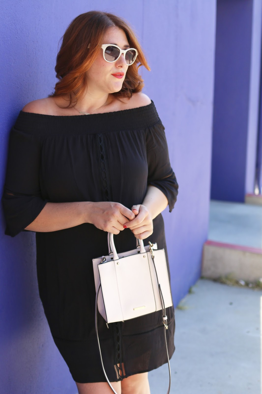 Target, mossimo, off the shoulder, black dress, summer outfit, mini MAC minkoff