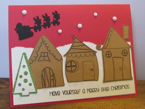 Whimsical Christmas Card with Silhouette Sketch Pen