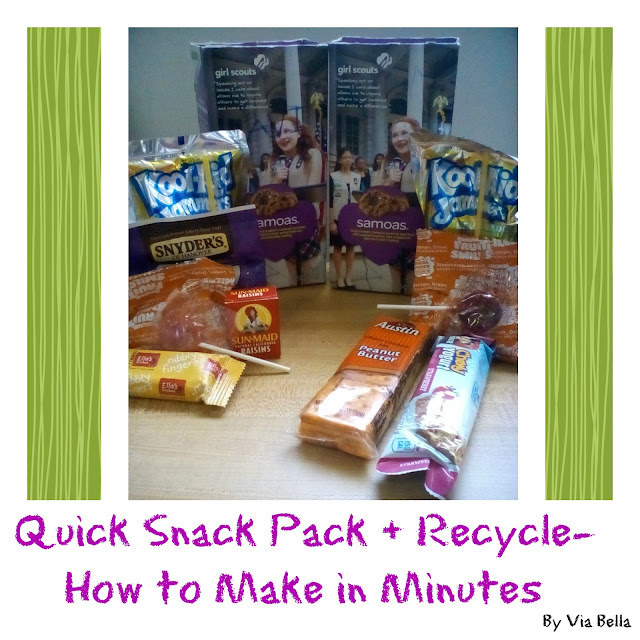 Quick Snack Pack + Recycle- How to Make in Minutes, Girl Scouts, Cookie Booth, Girl Scout Cookies, GSCNC, Mommy moments, Quick Fix, Quick Snack Packs
