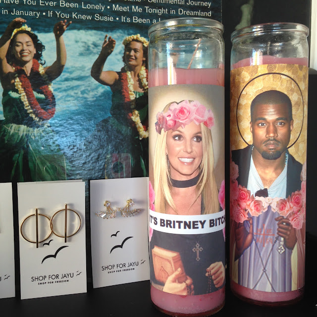 Kanye, Britney, Kim K, Drake and more celebrity prayer candles at Studio Fitzroy in Toronto