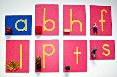 Fall first letter sounds with Montessori Sandpaper Letters