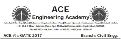 Ace Academy Pre Gate Test Paper Civil Engineering