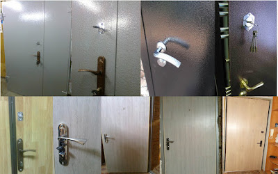 ламинат и молотковая краска на двери