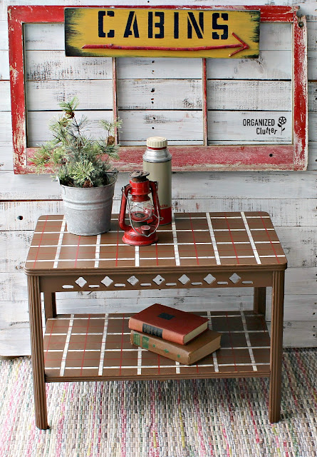 Vintage Table Upcycle with Chalk Paint & Plaid Shirt Stencil #plaidshirt #oldsignstencils