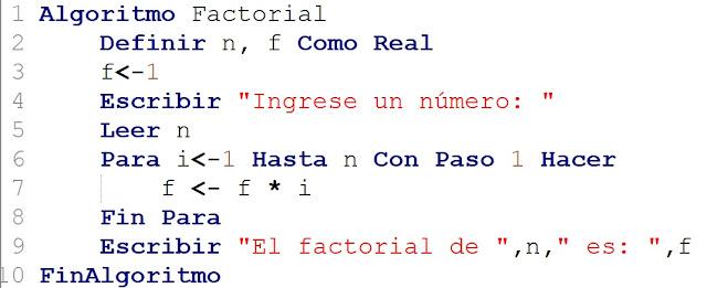 Algoritmo que calcula el factorial de un número