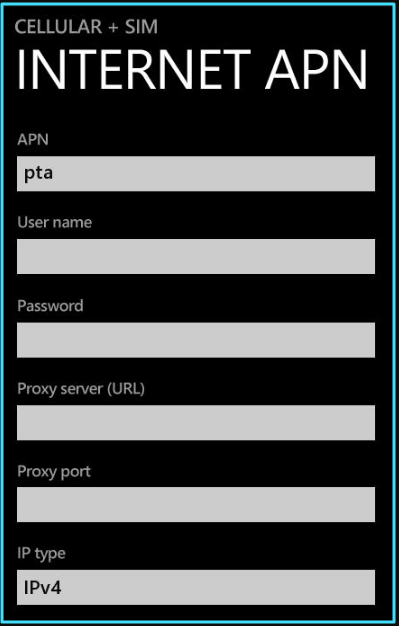 New AT&T apn settings windows phone