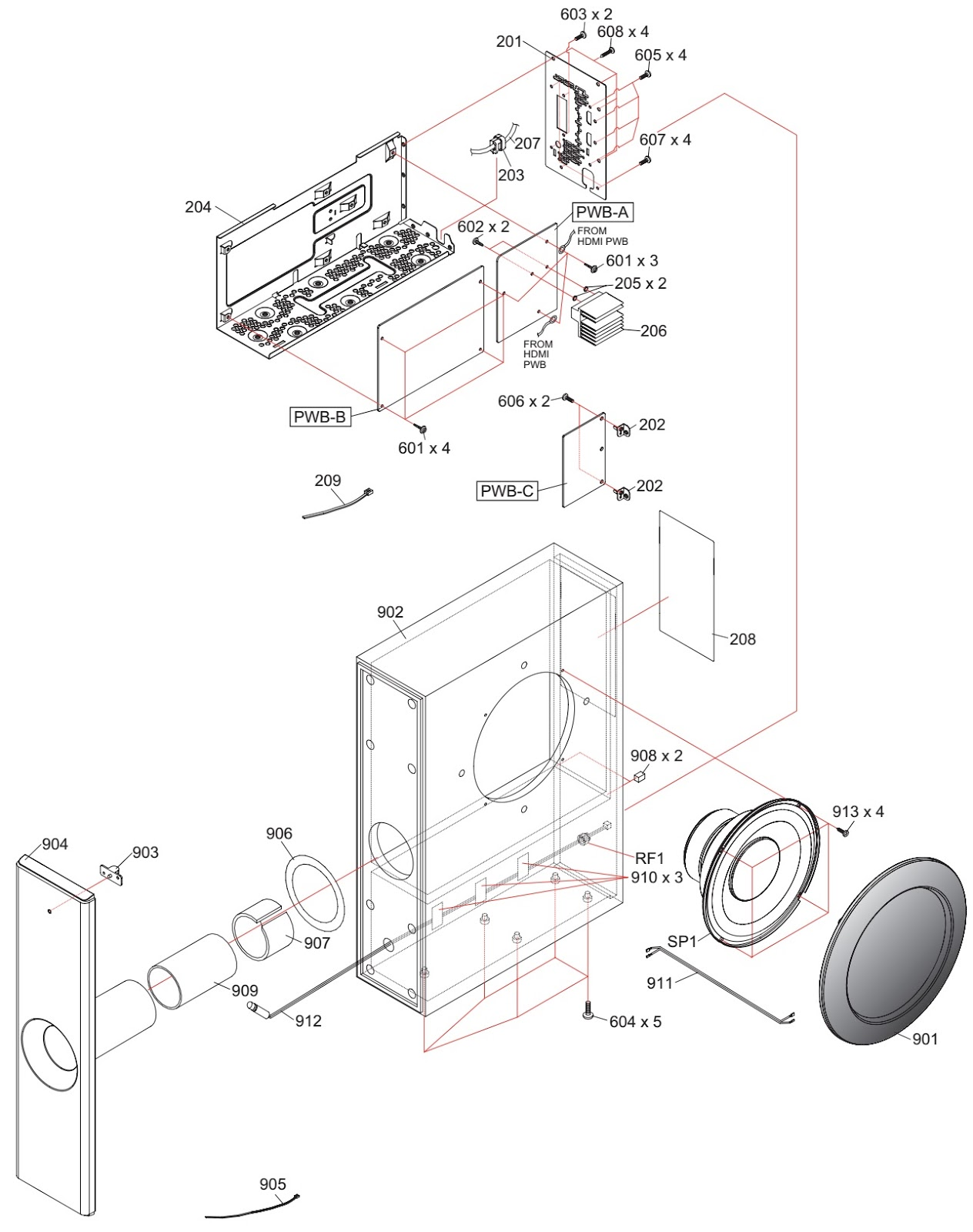 Sharp Ht Sl50 Sound Bar Home Theater System Disassembly Circuit Diagram
