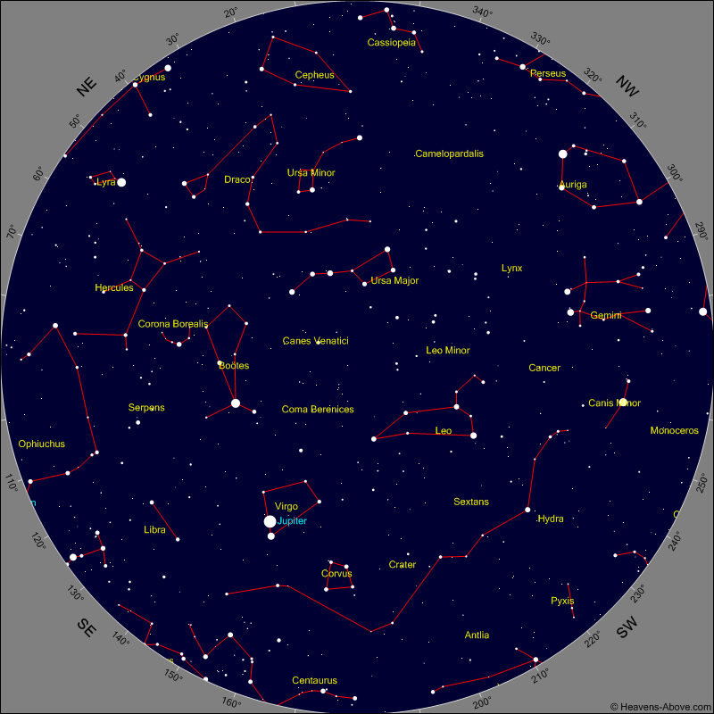 Sky Chart for the morning of Monday Jan 30th at 4 am