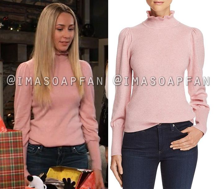 Josslyn Jacks, Eden McCoy, Ruffled Pink Puff Sleeve Turtleneck Sweater, General Hospital, GH