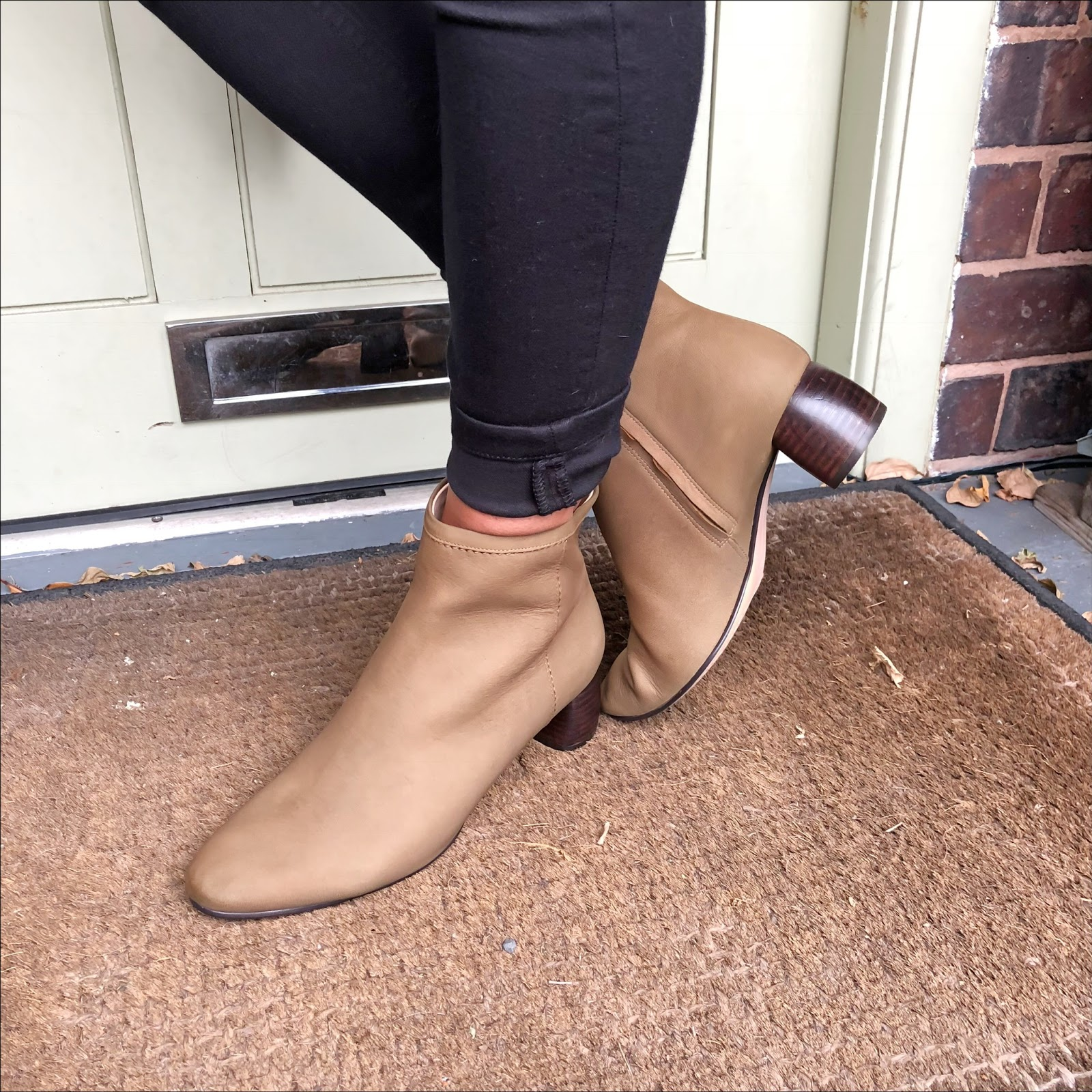 my midlife fashion, clarks grace bella khaki nubuck ankle boots