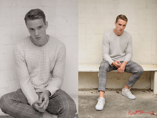 Two pictures, menswear fashion full length seated for a male modelling portfolio - Photographed by Kent Johnson, Sydney, Australia.
