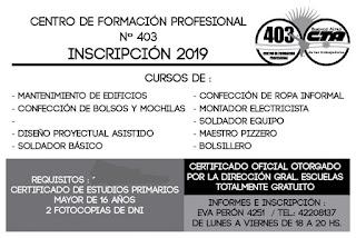 El CFP 403 de Monte Chingolo inscribe a capacitaciones laborales oficiales y gratuitas