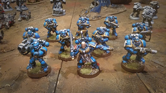 Repainted Warhammer 40k Space Marines Tactical Squad