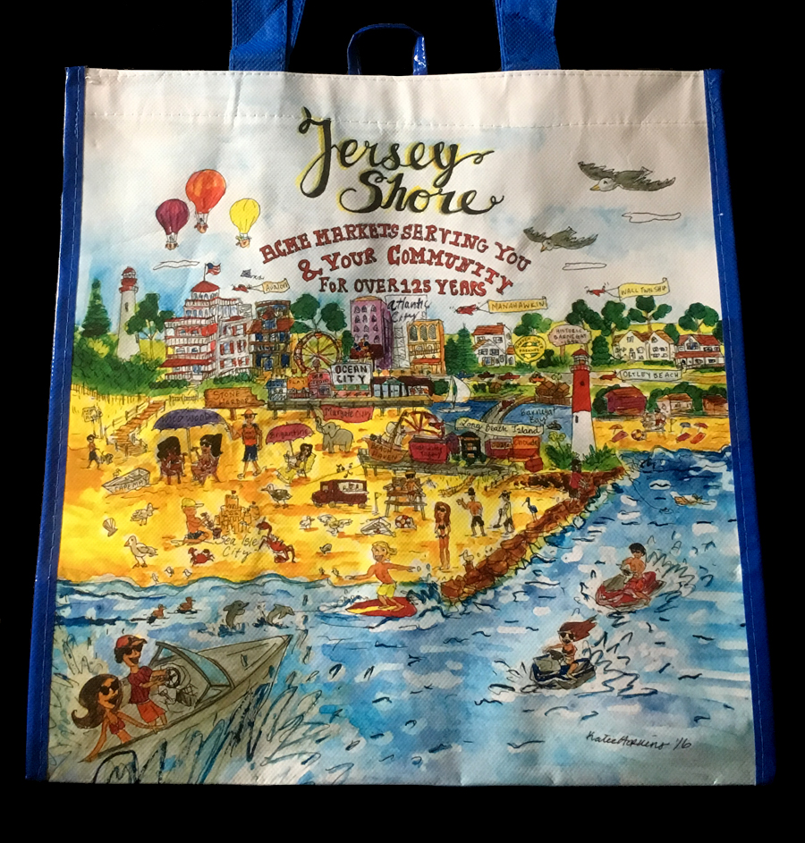 Acme Recently Began Ing A New Reusable Bag Which Celebrates The Chain S History Along Jersey Ilration By Katie Herkins Sp Includes