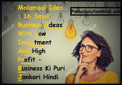 Best Ideas : 16 Small Business Ideas In Hindi With low Investment And High Profitable - 2017 - Business Ki Puri Jankari