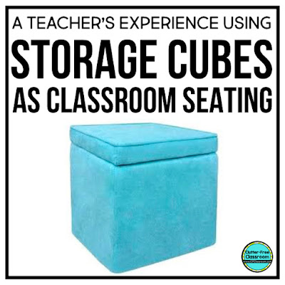 Flexible seating has challenges and benefits. The Clutter Free Classroom gives lots of tips and ideas about rules, expectations, a contract, classroom seating arrangements, layout, organization, choices, choice boards, and how she used storage cubes or crates in her classroom! #classroomsetup #classroomdesign