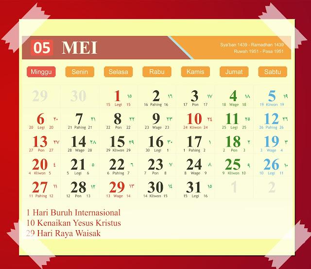 Download Kalender Mei 2018 Hijriyah Jawa Dan Pasaran