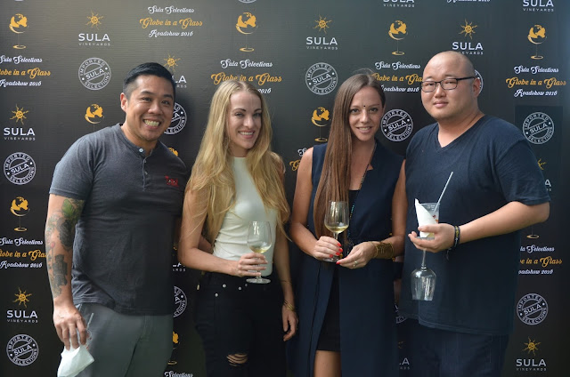 (From L-R) Celebrity Chef Kelvin Cheung with wife Andrea and Cecilia Odne, VP Marketing and Global Brand Ambassador, Sula Vineyards at Sula Selections 'Globe in a Glass' Roadshow 2016