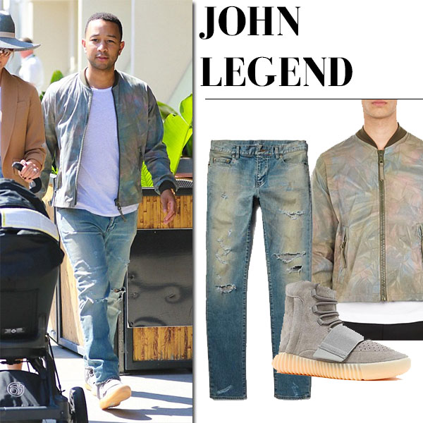 John Legend in tie-dyed bomber jacket and ripped jeans saint laurent mens fashion