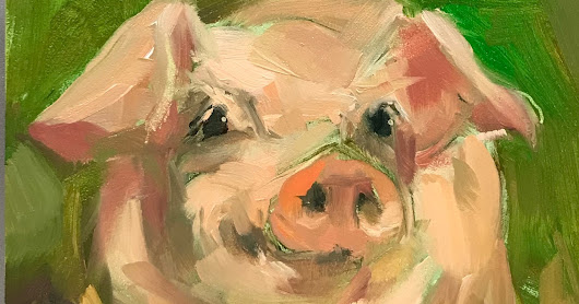 "Piglet Oil Painting, ""Hay Maze"" by Brande Arno"