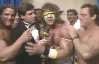 WWE/WWF SUMMERSLAM 1988: The Ultimate Warrior celebrates his victory in an interview with Sean Mooney