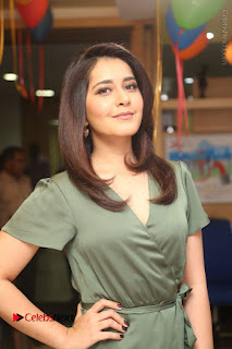 Actress Raashi Khanna Stills in Green Short Dress at Mirchi 95 Suno Aur Mercedes Jeeto Contest  0053.JPG