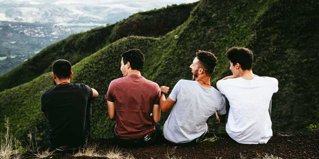 Relationship discussion group - friends on mountain