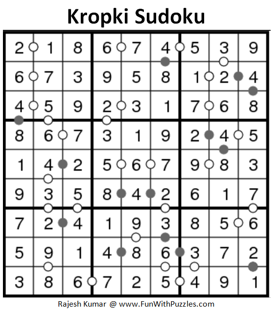 Kropki Sudoku (Daily Sudoku League #164) Solution